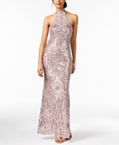 1dcbf97395 Betsy   Adam Placed-Sequins Halter Gown