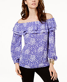 MICHAEL Michael Kors Off-The-Shoulder Layered Flounce Top