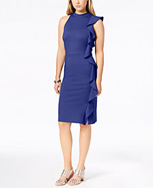 Bar III Ruffle Ponté-Knit Sheath Dress, Created for Macy's