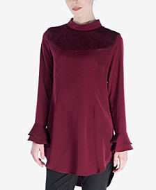Verona Collection Emilia Lace-Contrast Tiered-Sleeve Top