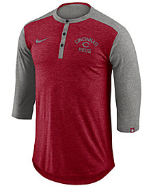 Nike Men's Cincinnati Reds Dry Henley Top
