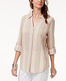 Style & Co Petite Striped Textured Button-Front Shirt, Created for Macy's
