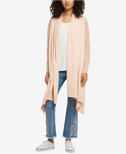ed4317c823 DKNY Open-Front High-Low Cozy Cardigan   Reviews - Sweaters ...