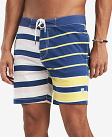 "Tommy Hilfiger Men's 6.5"" Cambridge Stretch Colorblocked Stripe 6.5"" Board Short, Created for Macy's"