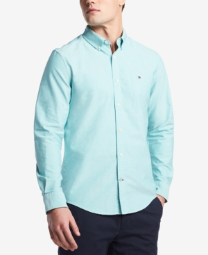 a1d63edb TOMMY HILFIGER MEN'S CUSTOM FIT NEW ENGLAND SOLID OXFORD SHIRT, CREATED FOR  MACY'S, SPECTRA
