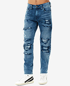 True Religion Men's Rocco No-Flap Rip & Repair Skinny Fit Stretch Jeans
