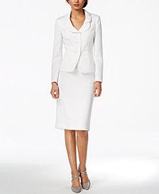 Le Suit Petal-Lapel Skirt Suit, Regular & Petite