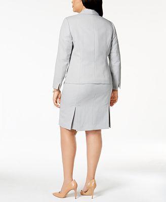 Le Suit Plus Size Herringbone Print Skirt Suit Wear To Work