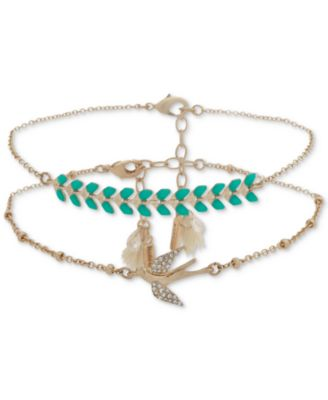 Gold-Tone 2-Pc. Set Pavé, Stone & Tassel Anklets, Created for Macy's