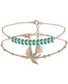 lonna & lilly Gold-Tone 2-Pc. Set Pavé, Stone & Tassel Anklets, Created for Macy's