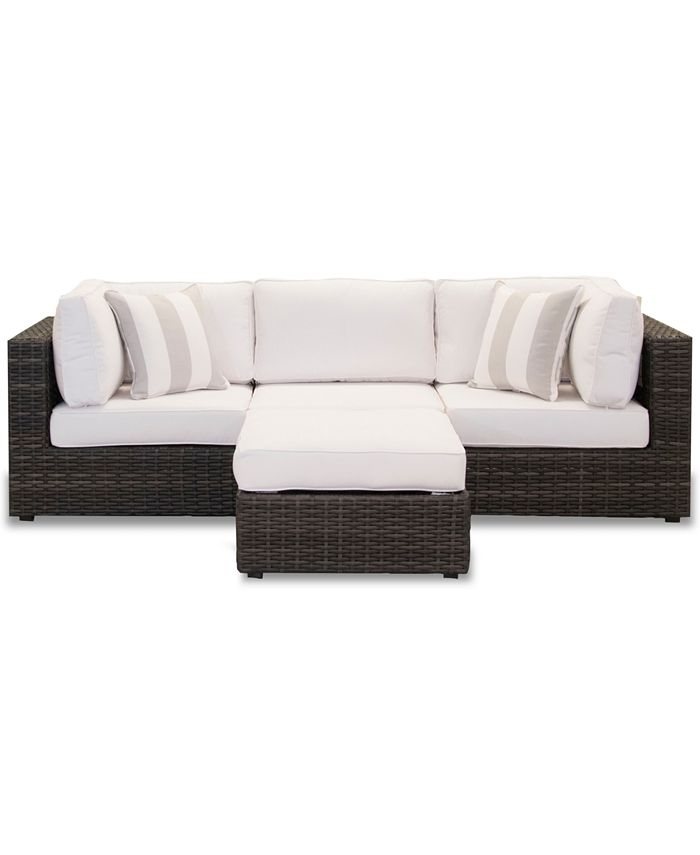 Furniture - Viewport Outdoor 4-Pc. Modular Seating Set (2 Corner Units, 1 Armless Unit and 1 Ottoman)