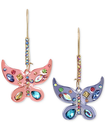 Betsey Johnson Two-Tone Multi-Stone Butterfly Drop Earrings