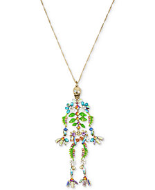 "Betsey Johnson Gold-Tone Stone, Bead & Crystal Floral Skeleton Pendant Necklace, 35"" + 3"" extender"