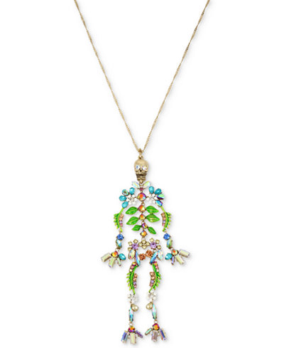 Betsey Johnson Gold-Tone Stone, Bead & Crystal Floral Skeleton Pendant Necklace, 35