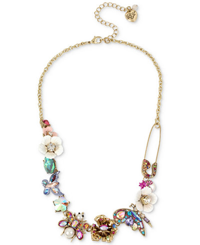 Betsey Johnson Gold-Tone Stone & Bead Insect Collar Necklace, 15-1/2