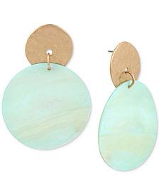 Robert Lee Morris Soho Gold-Tone Imitation Mother-of-Pearl Disc Drop Earrings