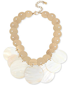 "Robert Lee Morris Soho Gold-Tone Mother-of-Pearl-Look Disc Statement Necklace, 17"" + 3"" extender"