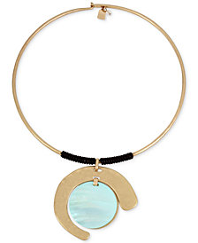 "Robert Lee Morris Soho Gold-Tone Imitation Mother-of-Pearl & Wrapped Leather 16"" Pendant Necklace"