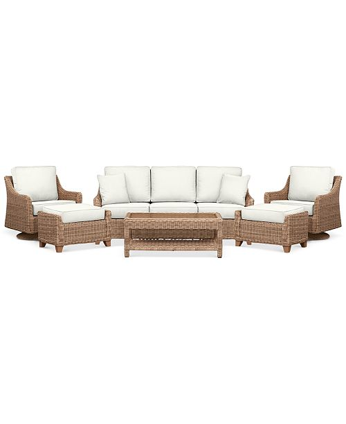 Furniture Willough Outdoor 6-Pc. Set (1 Sofa, 2 Swivel Gliders, 1 Coffee Table & 2 Ottomans), Created for Macy's