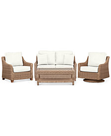 Willough Outdoor 4-Pc. Set (1 Loveseat, 1 Swivel Glider, 1 Club Chair & 1 Coffee Table), Created for Macy's