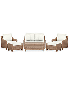 Willough Outdoor 6-Pc. Set (1 Loveseat, 2 Club Chairs, 1 Coffee Table & 2 Ottomans), Created for Macy's