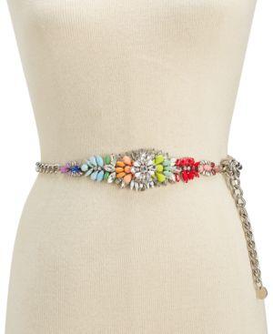 Steve Madden Multicolored Rhinestone Chain Belt 5531080