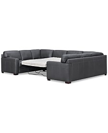Avenell 3-Pc. Leather Pit Sectional Full Sleeper, Created for Macy's