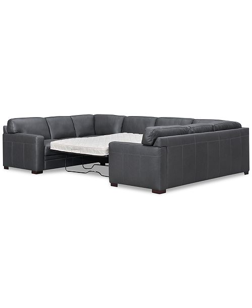 Strange Avenell 3 Pc Leather Pit Sectional Full Sleeper Created For Macys Creativecarmelina Interior Chair Design Creativecarmelinacom