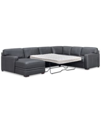 Avenell 3-Pc. Leather Sectional with Full Sleeper Sofa & Chaise, Created for Macy's