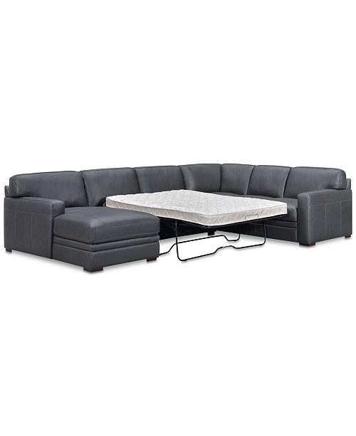 Stupendous Avenell 3 Pc Leather Sectional With Full Sleeper Sofa Chaise Created For Macys Download Free Architecture Designs Terstmadebymaigaardcom