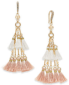 I.N.C. Gold-Tone Bead & Tassel Drop Earrings, Created for Macy's