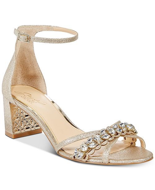Jewel Badgley Mischka Giona Block-Heel Evening Sandals   Reviews ...