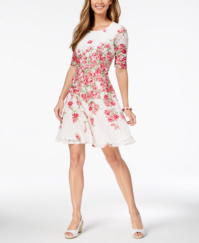 Charter Club Petite Floral-Print Lace Fit & Flare Dress, Created for Macy's