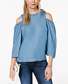 Maison Jules Cold-Shoulder Back-Button Top, Created for Macy's