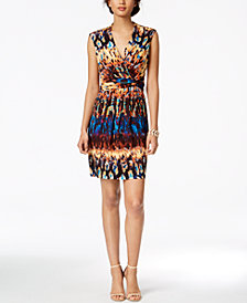 Ellen Tracy Petite Printed Surplice Dress