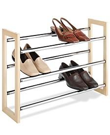 Wood and Chrome Shoe Rack, 21 Pair