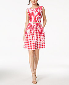 Ellen Tracey Petite Belted Printed Fit & Flare Dress