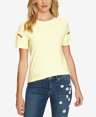 CeCe Crew-Neck Tie-Sleeve Top