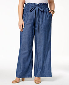 John Paul Richard Plus Size Chambray Soft Pants