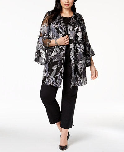 Alfani Plus Size Burnout-Print Kimono, Created for Macy's