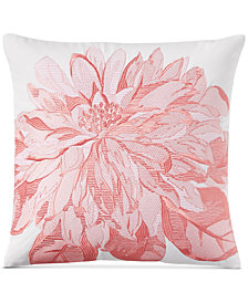 "Charter Club Damask Designs Embroidered Floral 16"" Square Decorative Pillow, Created for Macy's"