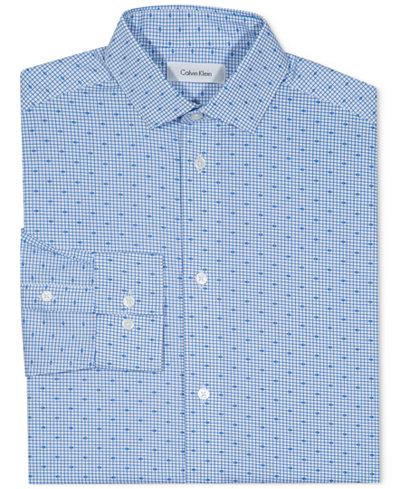 Calvin Klein Check-Print Button-Front Dress Shirt, Big Boys
