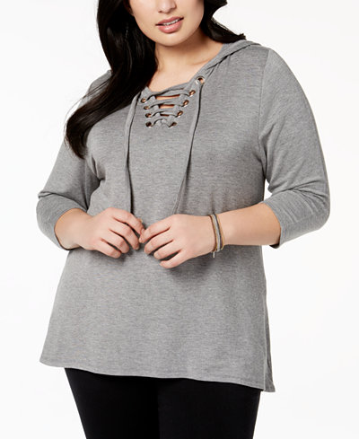 Belldini Plus Size Lace-Up Hoodie Tunic