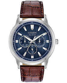 Citizen Eco-Drive Men's Corso Brown Leather Strap Watch 44mm