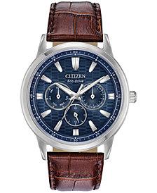 Citizen Eco-Drive Men's Corso Brown Leather Strap Watch 44mm