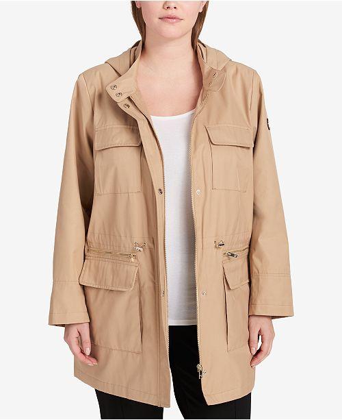DKNY Plus Size Cinched-Waist Raincoat