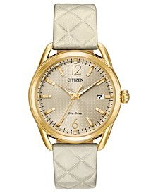 Drive From Citizen Eco-Drive Women's Ivory Leather Strap Watch 36mm