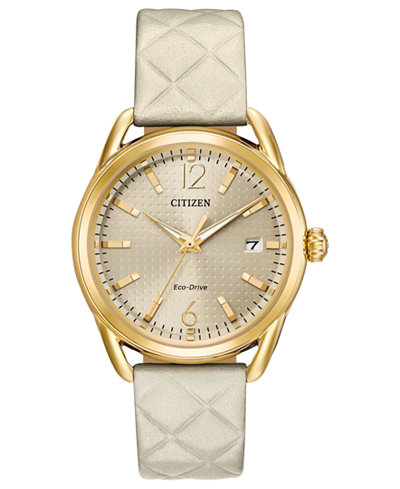 Citizen Drive From Citizen Eco-Drive Women's Ivory Leather Strap Watch 36mm