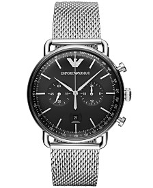 Emporio Armani Men's Chronograph Stainless Steel Mesh Bracelet Watch 43mm