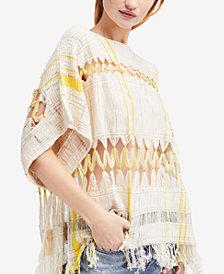Free People Sundream Striped Cutout Sweater
